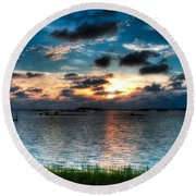 Sunset On Cedar Key Round Beach Towel