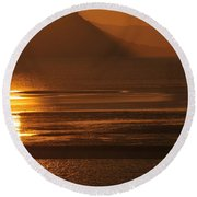 Sunset On Coast Of North Wales Round Beach Towel