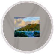 Sunset On Cruz Bay Round Beach Towel