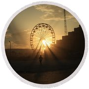 Sunset On Daytona Beach Round Beach Towel