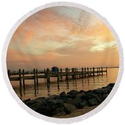 Sunset On Dewey Bay Round Beach Towel