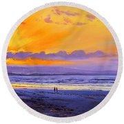 Sunset On Enniscrone Beach County Sligo Round Beach Towel