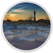 Sunset On Fire Island Round Beach Towel