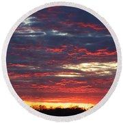 Sunset On Fire Round Beach Towel