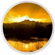 Sunset On Golden Ponds Round Beach Towel