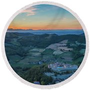 Sunset On Hills Round Beach Towel