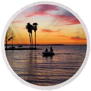 Sunset On Lake Dora At Mount Dora Florida Round Beach Towel