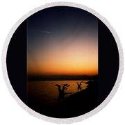 Sunset On Lake Geneva Round Beach Towel