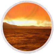 Sunset On Lake Tahoe, California Round Beach Towel