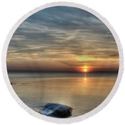Sunset On Long Island Sound Round Beach Towel