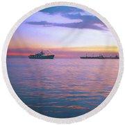 Sunset On Manila Bay Round Beach Towel