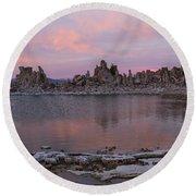 Sunset On Mono Lake Round Beach Towel