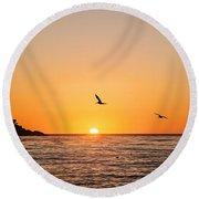 Sunset On Monterey Beach Round Beach Towel