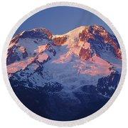 1m4876-sunset On Mt. Rainier  Round Beach Towel