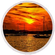 Sunset On Muskegon Lake Round Beach Towel