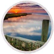 Sunset On Pamlico Sound Round Beach Towel