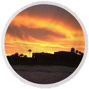 Sunset On Sanibel Round Beach Towel