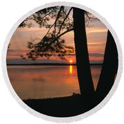 Sunset On Sister Bay Round Beach Towel