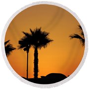 Sunset On Socal Beach Round Beach Towel