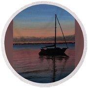 Sunset On St. Andrew Bay Round Beach Towel