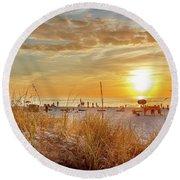 Sunset On St Pete Round Beach Towel