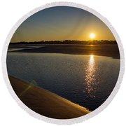 Sunset On St. Simons Island Round Beach Towel
