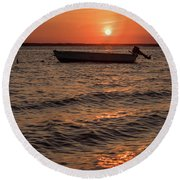 Sunset On The Bay Lavallette New Jersey  Round Beach Towel