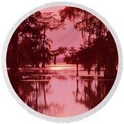 Sunset On The Bayou Atchafalaya Basin Louisiana Round Beach Towel