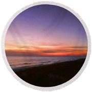 Sunset On The Beach At Cape San Blas, Florida Round Beach Towel