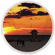 Sunset On The Clearwater Beach Round Beach Towel