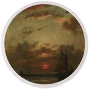 Sunset On The Coast 1870 Round Beach Towel