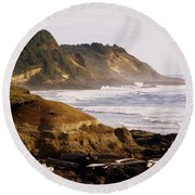 Sunset On The Coast Round Beach Towel