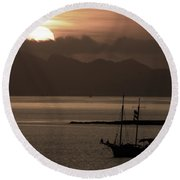 Sunset On The Edge Of The World Round Beach Towel