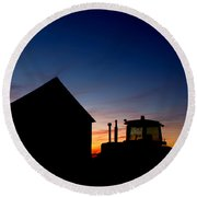 Sunset On The Farm Round Beach Towel by Cale Best