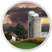 Sunset On The Farm Round Beach Towel