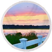 Sunset On The Indian River Round Beach Towel