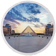Sunset On The Louvre Round Beach Towel