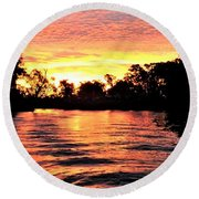 Sunset On The Murray River Round Beach Towel