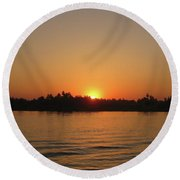 Sunset On The Nile Round Beach Towel