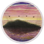 Sunset On The Pacific Round Beach Towel