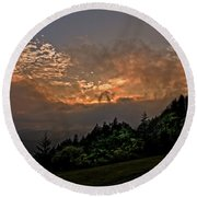 Sunset On The Parkway Round Beach Towel