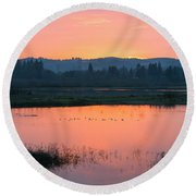 Sunset On The Refuge Round Beach Towel