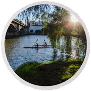 Sunset On The River - Seville  Round Beach Towel