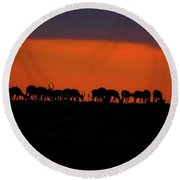 Sunset On The Serengeti Round Beach Towel
