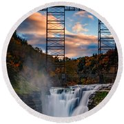 Sunset On The Upper Falls Round Beach Towel