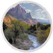 Sunset On The Watchman Round Beach Towel