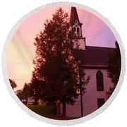 Sunset On The Whitefield Methodist Church Round Beach Towel