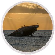 Sunset On The Wreck Of The Concrete Ship Atlantus Round Beach Towel