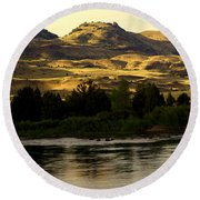 Sunset On The Yellowstone Round Beach Towel