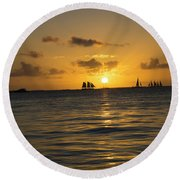 Sunset On Two Masts  Round Beach Towel